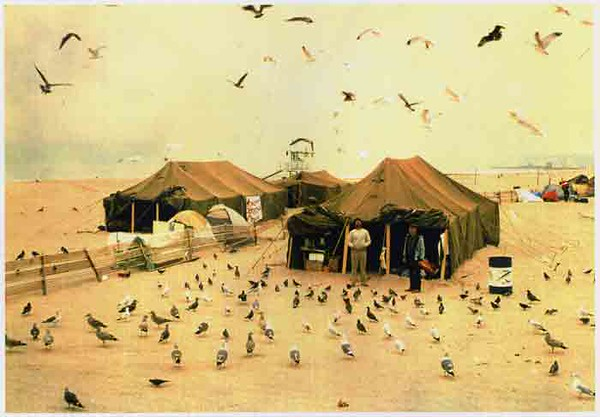Mess Tents, Homeless encampment, <br /> the day before the big storm when the ocean washed up onto Ocean Front Walk and the homeless were taken to the Penmar Recreation Center - 1984