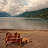 Contemplation.  Lake Crescent at Lake Crescent Lodge (Lodge dates from 1915)