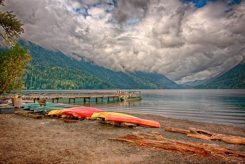Canoes at Lake Crescent.