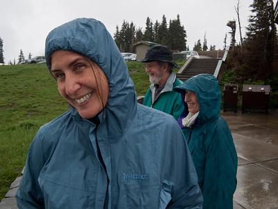 Vicki enjoying the Northwest's version of sunshine on Hurricane Ridge in the Olympic National Park.
