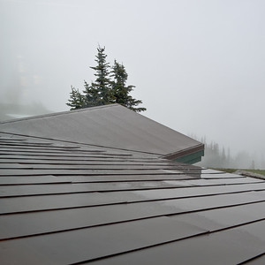 Heavy rain on the roof of the Hurricane Ridge visitor center, Olympic National Park.