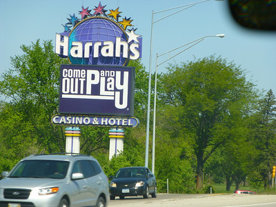 Harrah's Casino C Bluffs.  Shot with some zoom through the front windshield while traveling down the interstate,