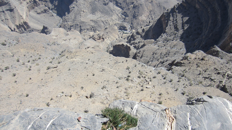 View down Wadi Makhr and balcony walk trail, jebel Shams