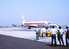 BOEING 707 TO SPAIN<br /> Naval Air Station Pt Mugu, California - August 1972<br /> <br /> And here comes our ticket to Spain now, complete with pretty stewardesses (you could call them that back then) and in-flight movies. What a way to go!