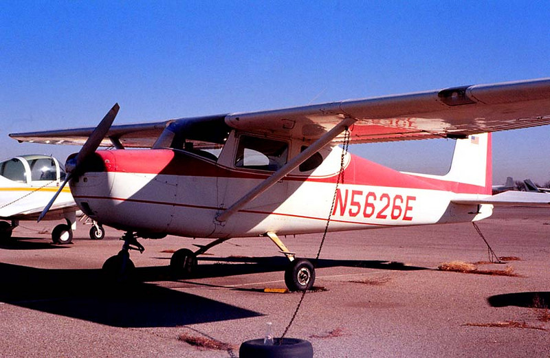 CESSNA 150<br /> Arlington Airport, Arlington, Texas - November 1976<br /> <br /> I logged a lot of hours in this old bird. She wasn't too pretty, but she got me around. The only thing, though, was that her control wheel was so large that you bonked your elbow on the window latch every time you reefed her around to starboard. You learned to deal with that.