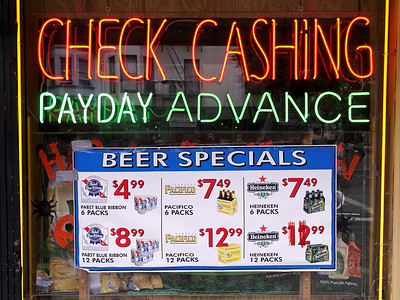 check cashing-buy beer