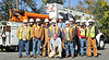 These 12 men were spotted in Montclair, NJ on a coffee break from restoring power to the community of 30,000. They are part of a crew of 165 Linemen with ON Power Energy who drove 135 trucks from Punta Gorda Florida 1,220 miles over two days to get to Paramus NJ in response to out power outages.