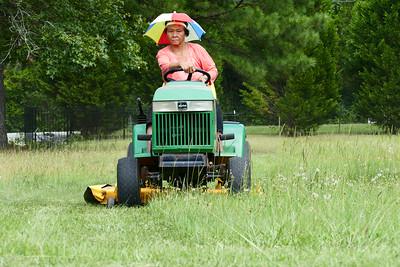Having fun cutting grass!