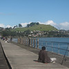 The old Mangere Bridge, built in 1915, is popular with fisherman.