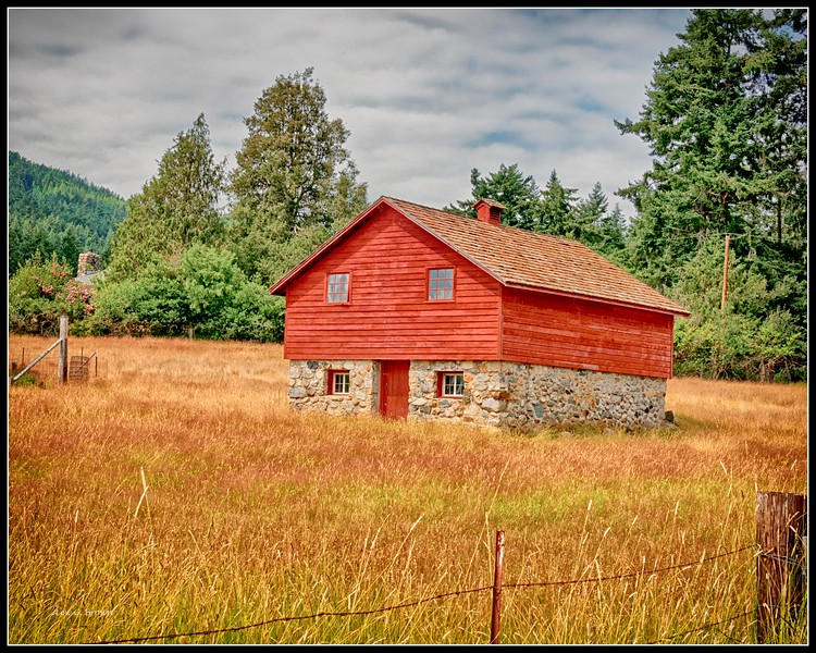 Barn with wood and stone
