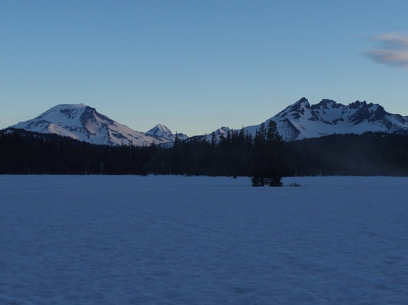 The Three Sisters and Broken Top from Dutchman Flat, at the start of an xc ski trip to Broken Top.