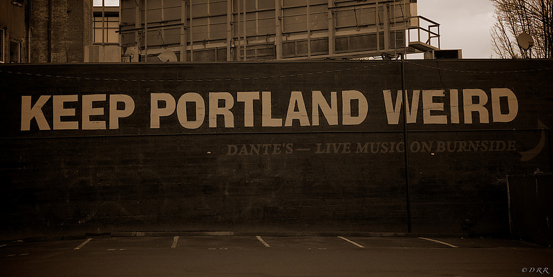 It says it all. Downtown Portland.