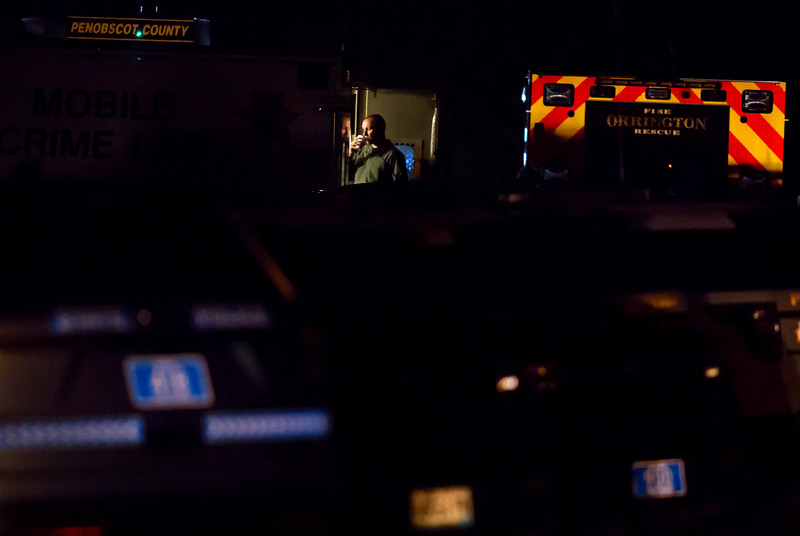 ORRINGTON, Maine -- 06/06/2017 - Maine State Police, Penobscot County Sheriff, and Brewer police work late into the night to talk to a man who reportedly barricaded himself inside his home near the intersection of Johnson Mill Road and Center Drive in Orrington Tuesday. Ashley L. Conti | BDN