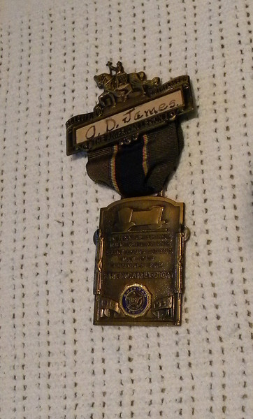An American Legion medal grandpa was awarded at the 1935 Legion convention.