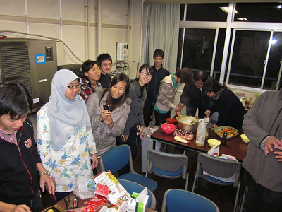 "Post-seminar graduate student party. Takoyaki ""cook-off""."