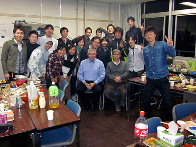 Graduate student group photo with professors, Rodriguez and Fujiyama.