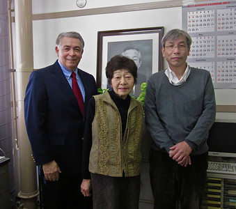 Professor Rodriguez with executive assistant, Mrs. Sawazumi and professor Fukiyama in the ICBiotech office, Osaka University, December 15, 2011.