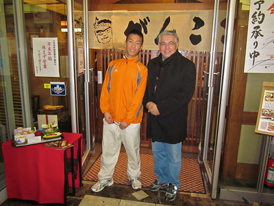 Kazushi Fujiyama and Professor Raymond Rodriguez after dinner at JR Ibaraki Station, Osaka Japan.