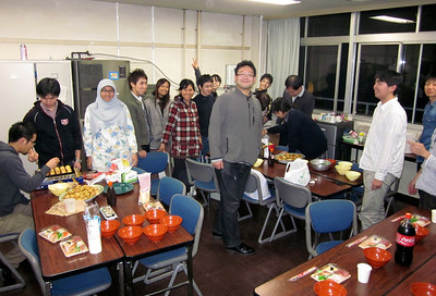 "Post-seminar graduate student ""takoyaki"" party."