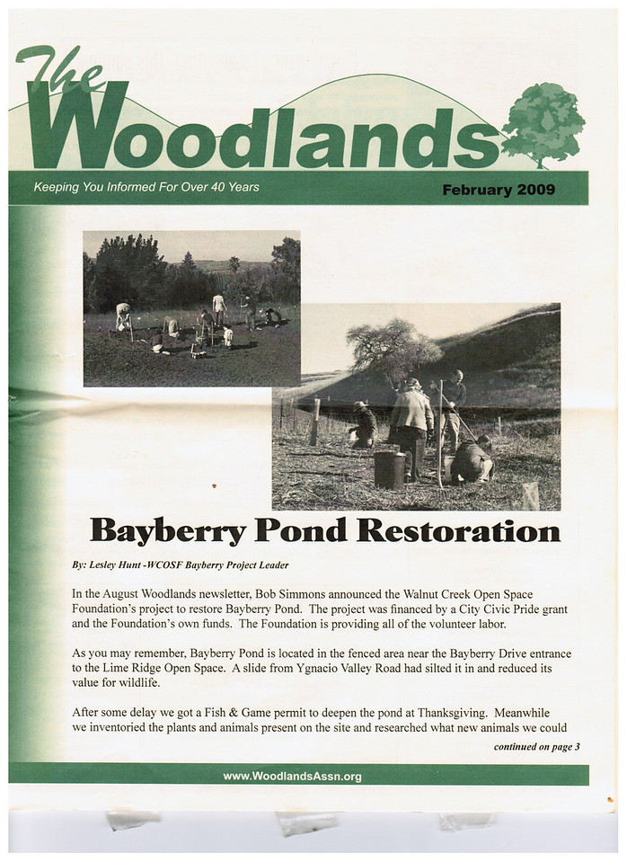 This is the front page of the newsletter published by the Woodlands neighborhood.  Note the hills and oak tree behind the words.<br /> <br /> I note that hills, horizon and tree(s) are pretty common in websites and newsletters for non-profits that have something to do with the environment.  (Muir heritage Land Trust and save Mount Diablo for example.)