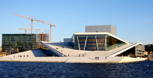 The new Nowegian National Opera, Oslo designed by the award winning Norwegian architectural firm Snohetta.