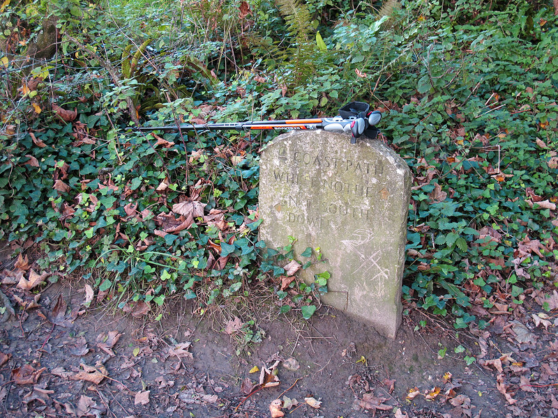 The standard South West Coast path 'gravestone' sign.