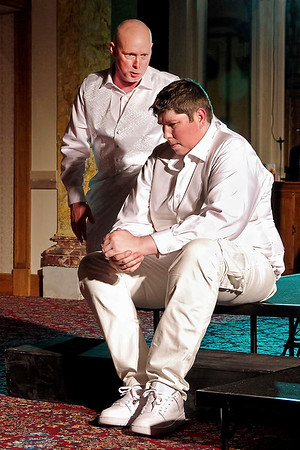 "Mark Maynard | for The Herald Bulletin<br /> The villainous Iago (Raymond Kester) plays upon Roderigo's (Martin Stapleton) unrequited love for Desdemona to achieve his evil purposes in William Shakespeare's ""Othello."""