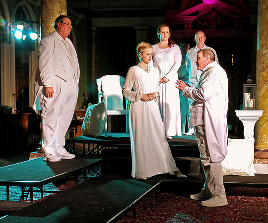 """Mark Maynard   for The Herald Bulletin<br /> Steve Sharkey, Lauren Schaffter, Tiffany Jackson, Raymond Kester and Andy Persinger portray Montano, Desdemona, Emilia, Iago and Cassio in the Alley Theatre's production of """"Othello."""""""