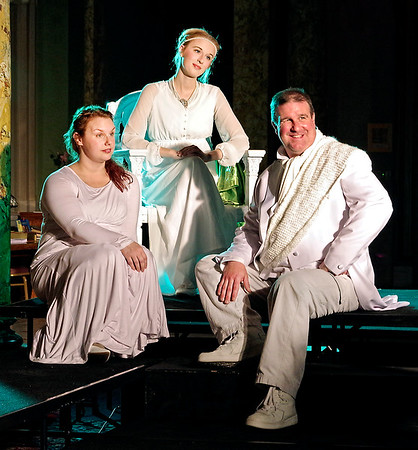 "Mark Maynard | for The Herald Bulletin<br /> Emilia (Tiffany Jackson), Desdemona (Lauren Schaffter) and Cassio (Andy Persinger) share a moment in the Alley Theatre's production of ""Othello."""