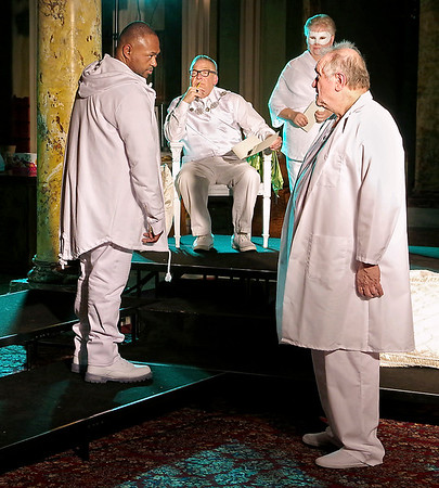 Mark Maynard   for The Herald Bulletin<br /> Othello (Butch Copeland) confronts Brabantio (David Whicker) in the presence of the Duke of Venice (Cito Wyatt) and a Masque Player (Judy Pochard).