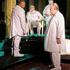 Mark Maynard | for The Herald Bulletin<br /> Othello (Butch Copeland) confronts Brabantio (David Whicker) in the presence of the Duke of Venice (Cito Wyatt) and a Masque Player (Judy Pochard).