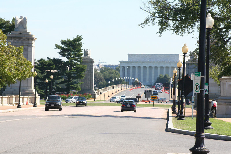 From just outside the Metro stop, looking over Memorial Bridge