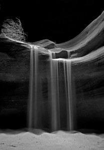 Sand waterfall inside of Upper Antelope Canyon.