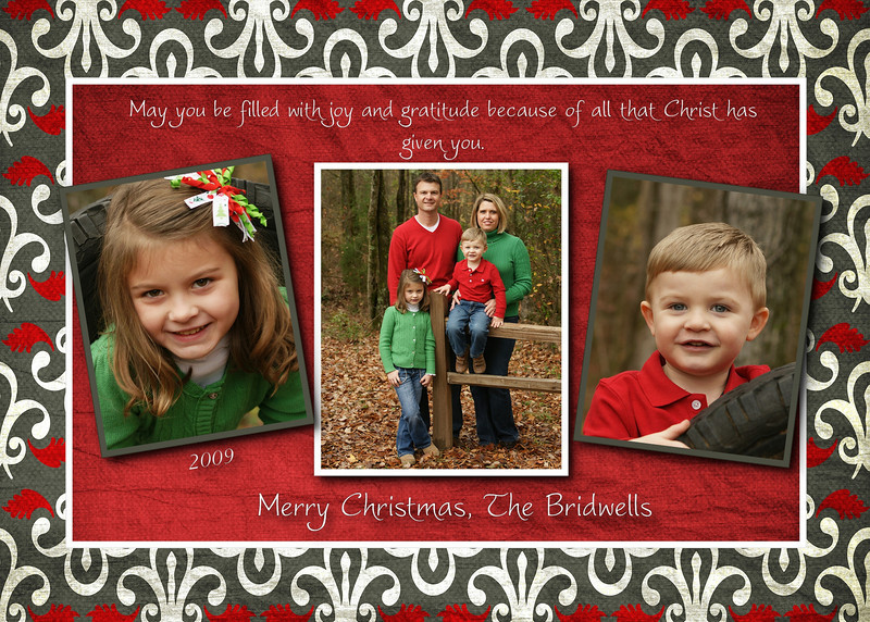 bridwells a christmas card grey and red