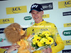Chris Froome can afford to smile - he's the first race-leader of the 2014 Dauphiné-Libéré..!