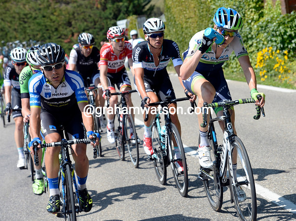 Jens Keukeleire and Cesare Benedetti now lead a hopeful escape away...