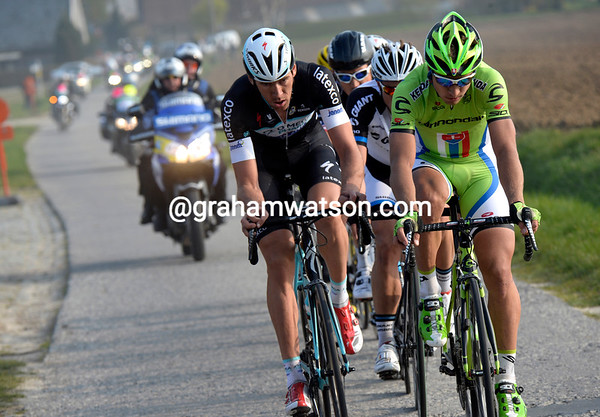Sagan and Vandenbergh lead the race, about 40-seconds ahead of Cancellara and Boonen...