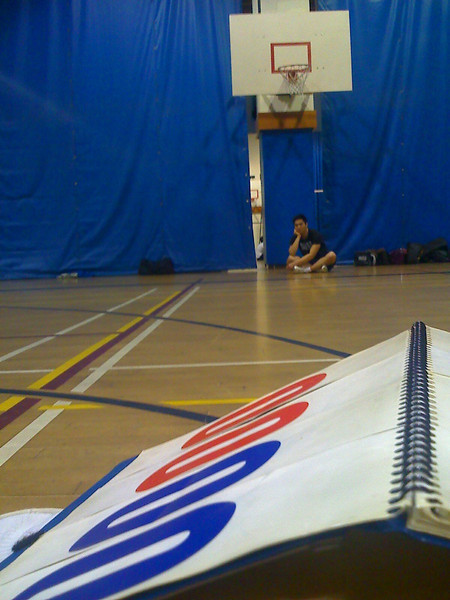 Thursday night volleyball.  View from the scoreboard.              That's my friend Kevin in the background