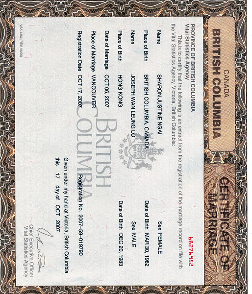 Our Marriage Certificate