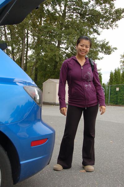 Sharon and car