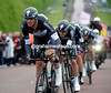 Alessandro Petacchi looked formidable at the head of Omega-Pharma - they took second-place, just five-seconds behind the winners...
