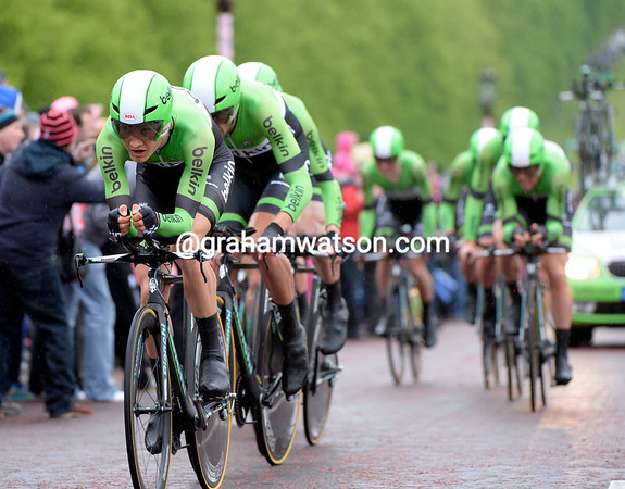 "Belkin stayed solid throughout the ride but only took 12th, 1' 01"" behind..."