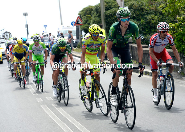 Thurau is the most active in front - he is one of three Europcar riders escaping...