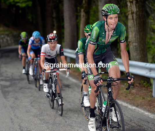Bjorn Thurau is leading Pierre Rolland in a five-man counter-attack...