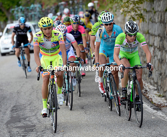 It's a very Italian-looking escape with Enrico Battaglin leading them up the day's highest climb...