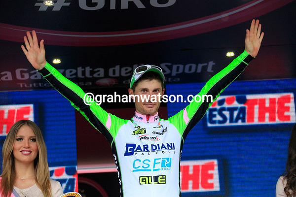 Enrico Battaglin celebrates winning one of the Giro's most prestigious stages in Oropa