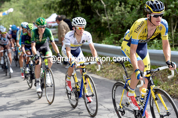 Twenty-seconds back, Michael Rogers is chasing Deignan and setting up an attack for Rafal Majka...