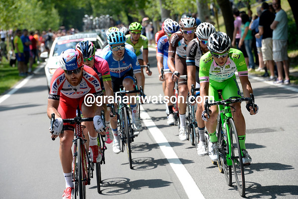 Luca Paolini is hard at work driving along a 12-man escape...