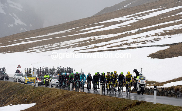 A lot of yellow jerseys are leading the chasers up the Stelvio Pass...