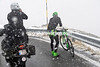 A Bardiani riders stops on the descent to call for warmer clothing...